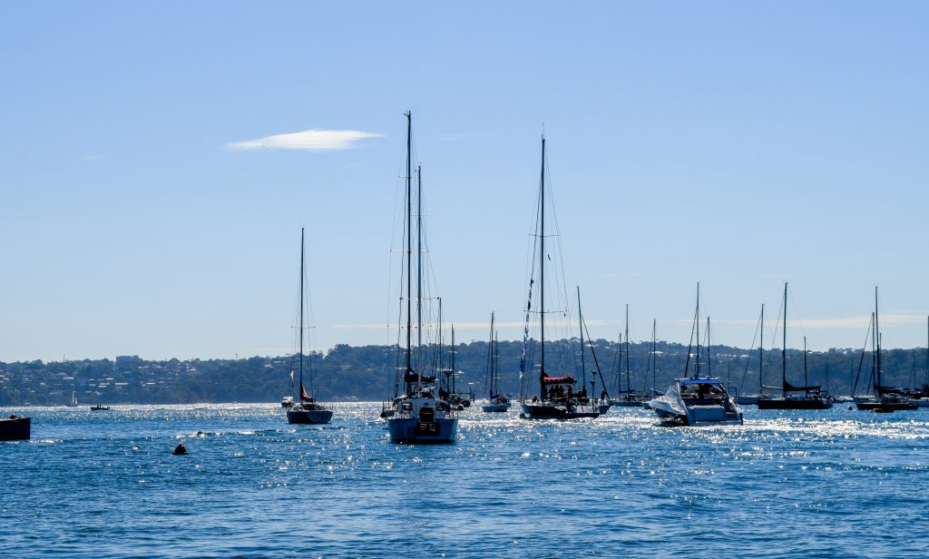 Maiden sails into the distance, with other yachts surrounding her. The sky and sea are bright blue.