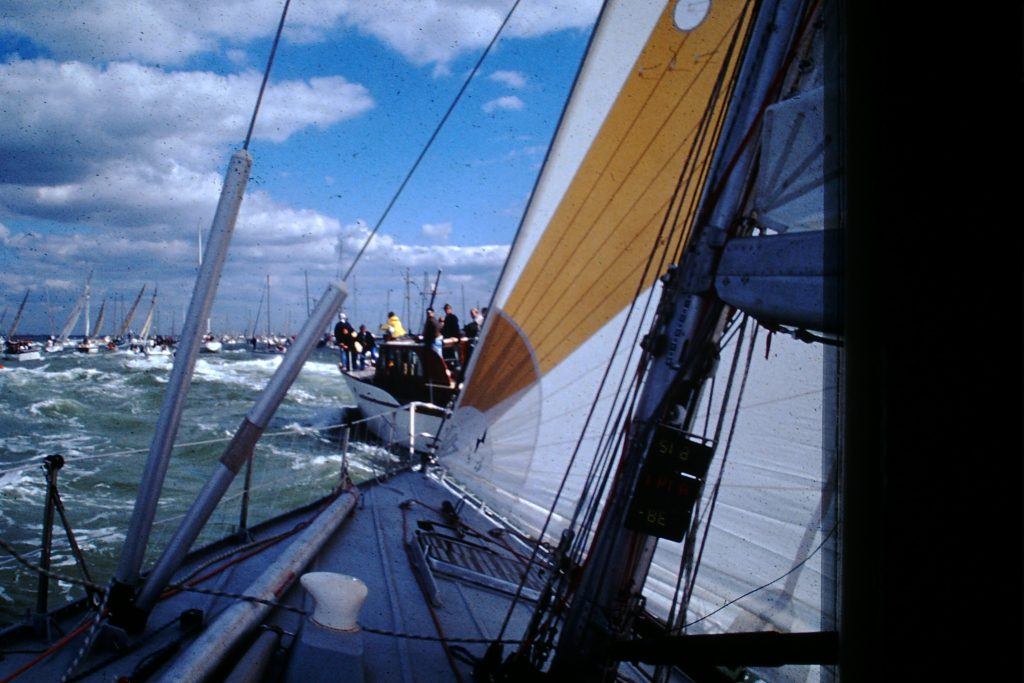 Maiden sails into Auckland in 1989/90. Taken from onboard Maiden looking out at other yachts
