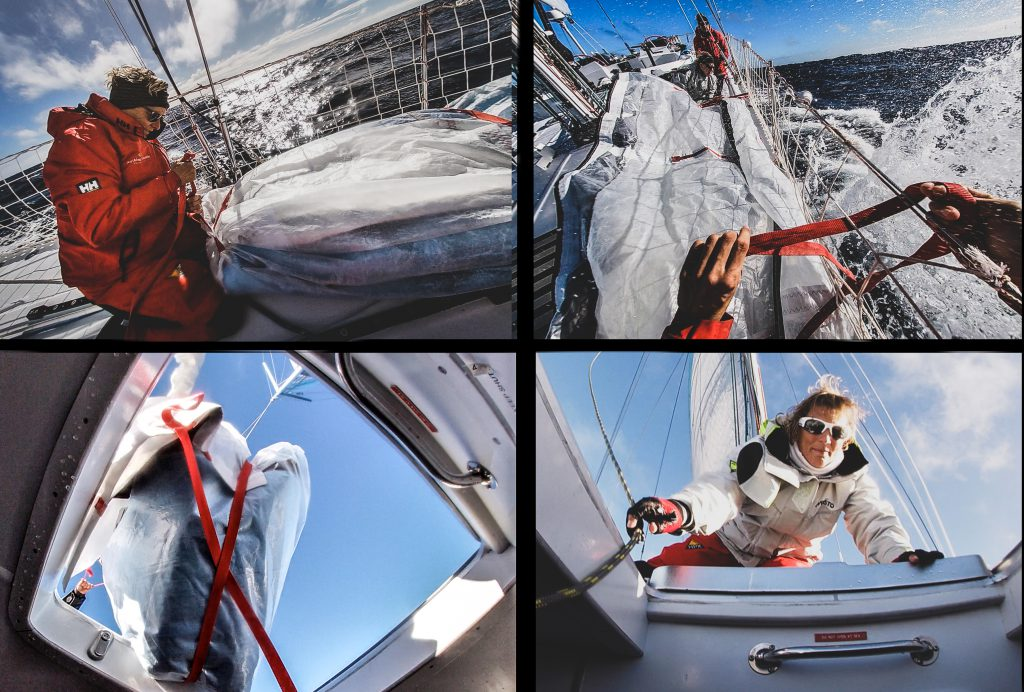 Four images in a grid. Top left - skipper works and deck in foul weather gear, working on a sail. Top right - waves splash to Maiden's right. Hands are in the foreground holding sail ties. Bottom left - the sail through the trapdoor. Bottom left - a sailor looks down below deck to check the sail is down.