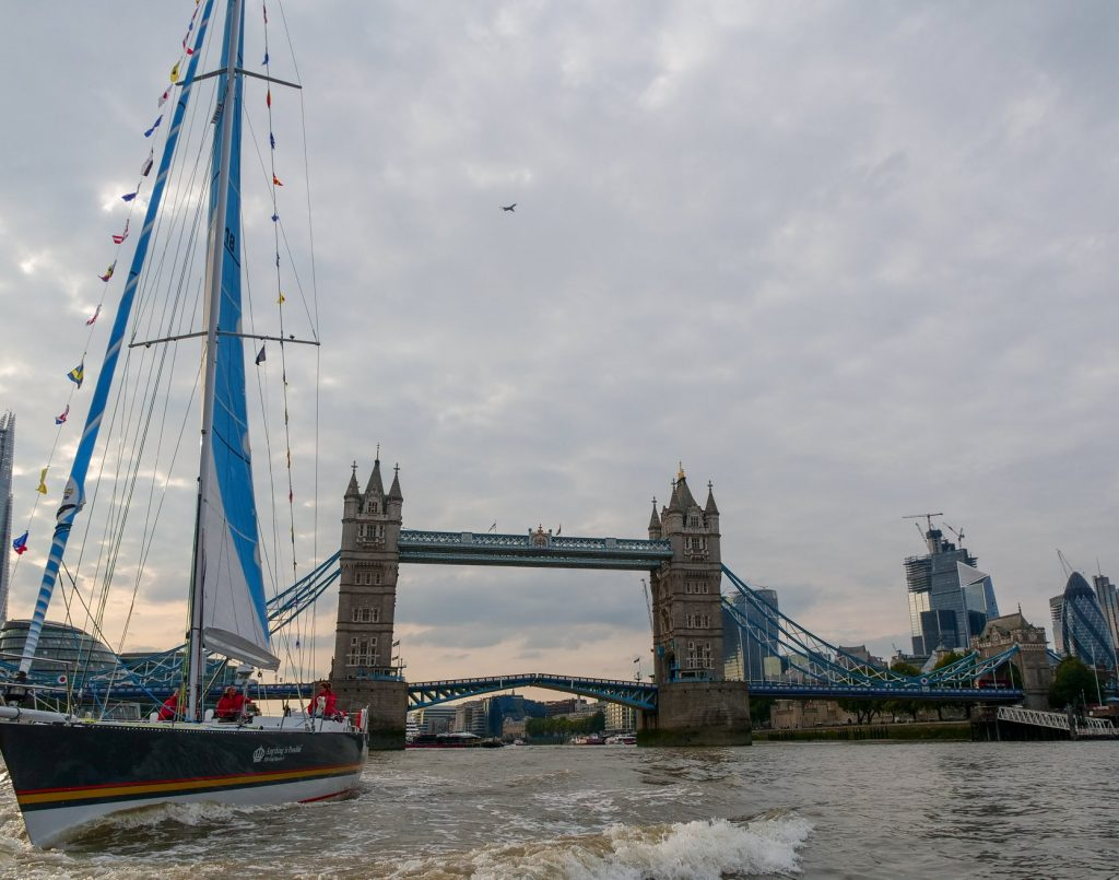 Maiden is in the left of the photos sailing, with tower bridge behind her