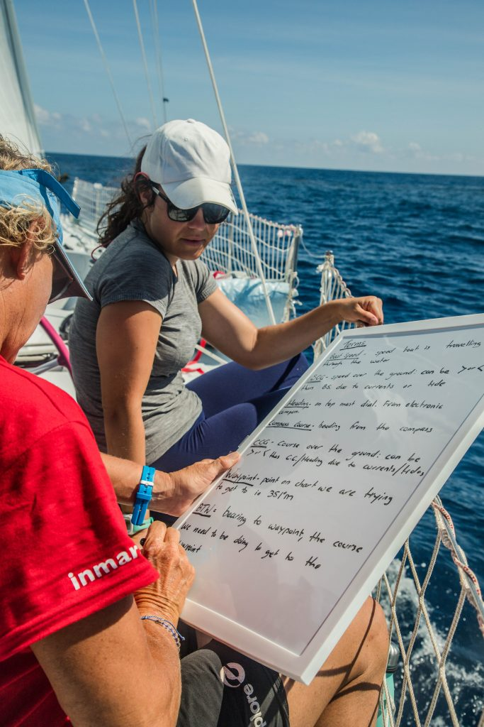 Two women sit on a boat. The women in the foreground is writing on a whiteboard.