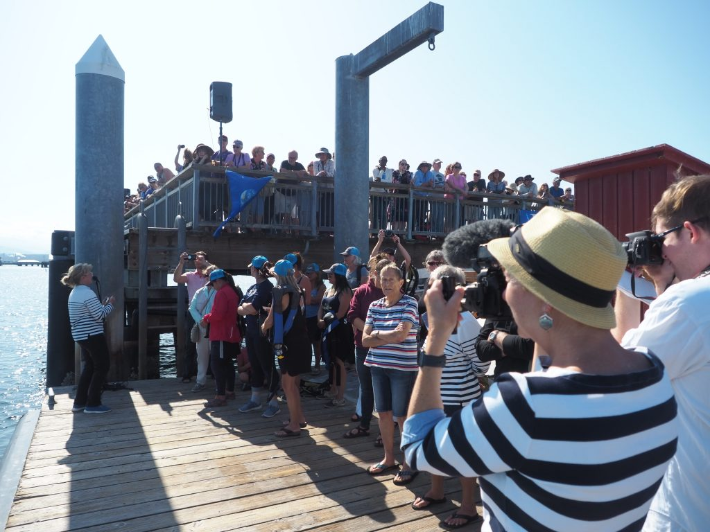 Crowds line the dock at Port Townsend