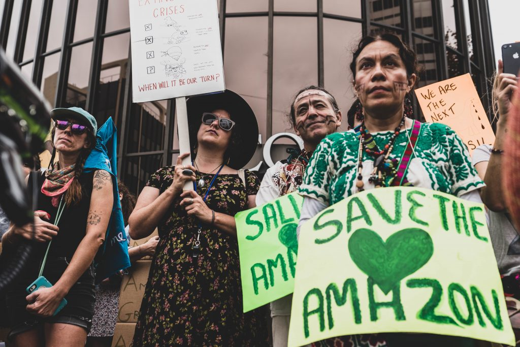 Women supporting the protection of the amazon