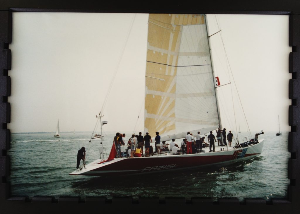 The yacht Fazisi, with many people onboard